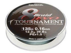 Plecionka Daiwa Tournament 8 Braided EVO 0,12/135m 8,6kg 12780-012